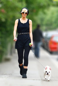 Sarah Harding walking the dog. London UK