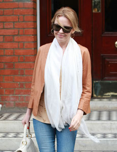 Kylie Minogue leaving home London UK