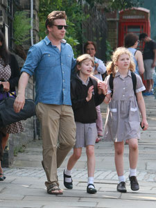 Jamie Oliver performing a rare school run London UK