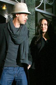 Brad Pitt and Angelina Jolie leaving Claridges Hotel. London UK
