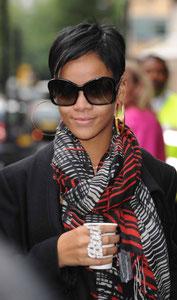 Rihanna leaving BBC Radio1. London UK