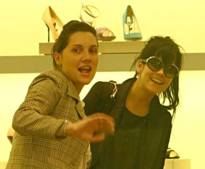 Lily Allen and Sister shopping at Prada. Bond Street, London UK
