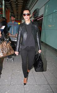 Kim Kardashian arriving in the UK