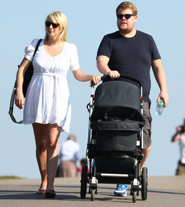 James Corden out with family on Primrose Hill. London UK