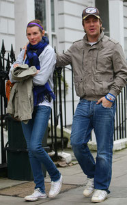 Jamie Oliver out with Wife Jools Oliver. London UK