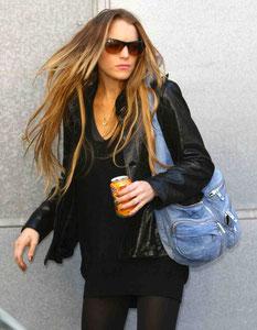 Lindsey Lohan leaving Bryan Adams house. London UK