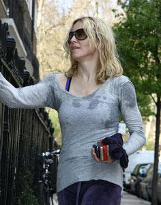 Madonna returning from an intense workout. London UK