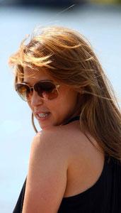 Rachel Stevens on a boat trip. Richmond UK
