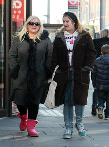 Vanessa Feltz out with daughter on Kings Road, London UK