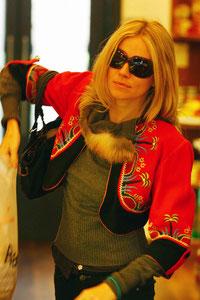Sienna Miller shopping for breads. London UK