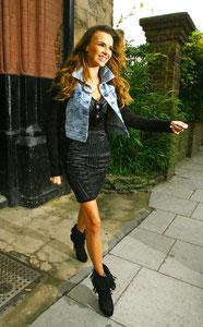 Nadine Coyle leaving recording studio London UK
