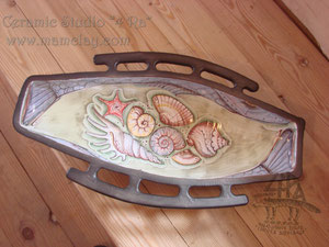 """15-31. Керамическое блюдо для рыбы ручной работы с росписью """"по сырой эмали""""."""