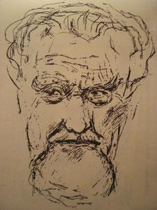 Konrad Lorenz, Bleistift auf Papier, 1980