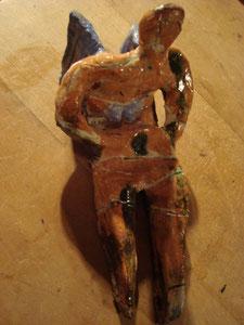 Engel mit blauen Flügeln, Keramik 2009