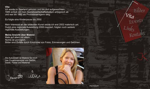 Kleine Homepage, Layout einer Internetseite für eine Künstlerin