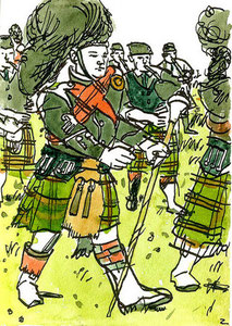 """Dufftown Pipe Band"" - Ink and watercolor"