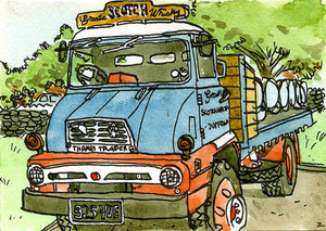 """Ali B's Lorry"" - Ink and watercolor"