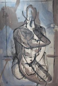 Homotéthie- Homme, Femme -huile sur papier - 120x75cm - 2017-2019