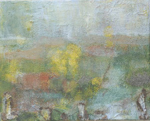 Green of Ireland, 2005 _____ 40x50 acrylic, sand, bark on cotton
