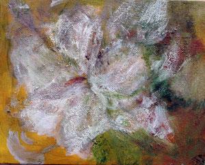 Lilie, 2011          40x50 Acryl, Sand, Papier auf Leinwand