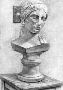 C.Aさん作 石膏(ギリシャ少女像)デッサン