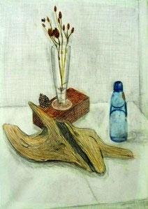 S.Mさん作(当教室最年少の10歳) 色鉛筆による静物画