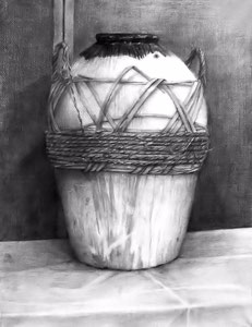 鉛筆デッサン(紹興酒壺)