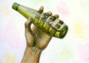 K.Tさん作 手と瓶の構成淡彩