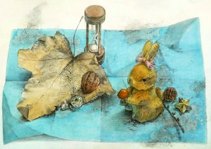 K.Uさん作 鉛筆淡彩による細密描写