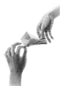 I.Tさん作 両手とモチーフの構成デッサン