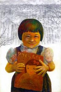 K.Hさん作 テンペラ画(人物+イメージ)