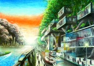 K.Tさん作 イメージ構成画(共存をテーマとした都市)