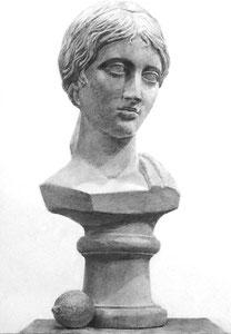 石膏像(ギリシャ少女像)+モチーフ(レモン)