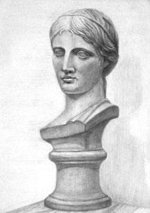 N.Mさん作 石膏デッサン(ギリシャ少女像)