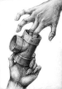 H.Oさん作 両手とモチーフの構成デッサン