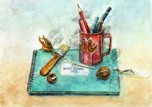 H.Wさん作 鉛筆淡彩による細密描写