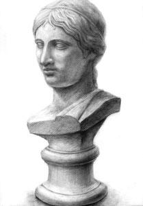 H.Oさん作 石膏(ギリシャ少女像)デッサン