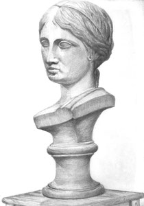 M.Oさん作 石膏(ギリシャ少女像)デッサン