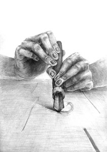 H.Kさん作 「両手と道具」をテーマとした構成デッサン