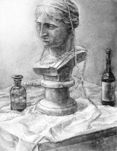 M.Tさん作 石膏静物(ギリシャ少女像)木炭デッサン