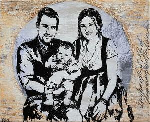 Junge Familie, Mischtechnik auf Leinwand, 65x80 cm