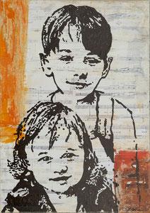 Mathilda und Sebastian, Mischtechnik auf Leinwand, 50x40 cm