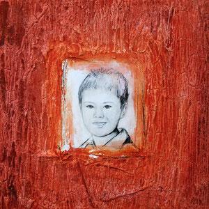Christoph, Mischtechnik auf Holz, 40x40 cm