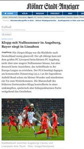 FC Augsburg - FC Liverpool, Kölner Stadtdanzeiger, 19.02.2016