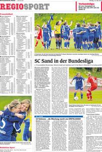 Aufstieg des SC Sand in die Erste Fußballbundesliga der Frauen, Mittelbadische Presse, 12.05.2014
