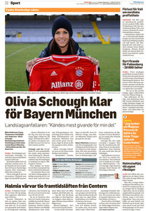 Olivia Schough, Hallandsposten 03.12.2013