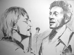 John Lennon/Chuck Berry,Bleistift,55x74 cm