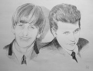 Pete Best/Ringo Starr,Bleistift,50x65 cm