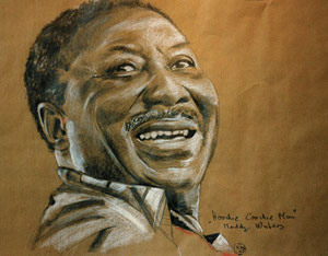Muddy Waters,Bleistift/Pastellkreide