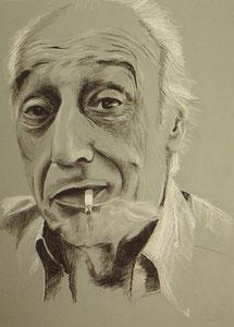 Karl Terry,Kohle,Pastellkreide, 55x40 cm